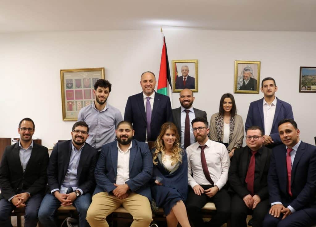 A group of Palestinian entrepreneurs visited the UK as part of their participation in an event to showcase Palestinian entrepreneurship. The event was organised with support from the Arab-British Chamber of Commerce (ABCC). The goal of the visit was to highlight the many talents in the Palestinian market in fintech, services and ICT sectors. At the Palestinian Mission in London, the group were received by H. E. Dr Husam Zomlot who praised their innovation as a lever for the Palestinian economy. Dr Zomlot argued that tech startups are one way the Palestinians can overcome the physical barriers placed by the Israeli occupation against the development of the Palestinian economy. The group is part of MENA Catalyst Foundation, a regional incubator which seeks to develop the business links between entrepreneurs in Palestine and the region and potential cooperation opportunities in Europe and North America.